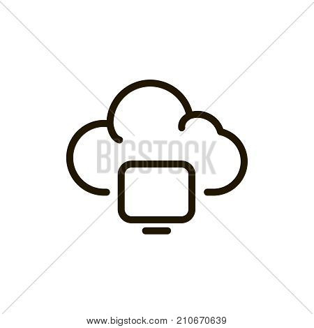 Cloude flat icon. Single high quality outline symbol of system for web design or mobile app. Thin line signs of server for design logo, visit card, etc. Outline logo of network