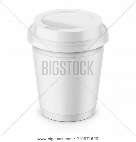 White paper disposable cup with sleeve and glossy plastic lid for hot beverage coffee, tea, espresso. 250 ml. Realistic packaging mockup template. High-angle view. Vector 3d illustration.