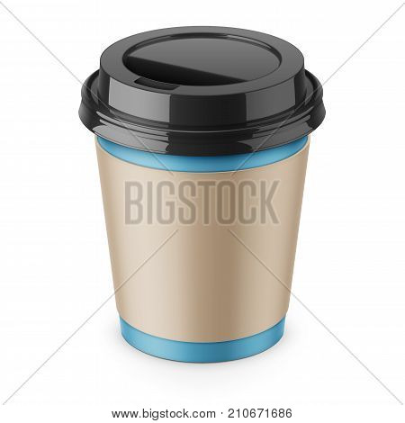 Blue paper disposable cup with sleeve and black glossy plastic lid for hot beverage coffee, tea, espresso. 250 ml. Realistic packaging mockup template. High-angle view. Vector 3d illustration.