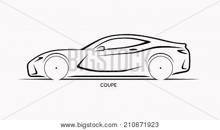 Vector car silhouette. Side view of sports coupe