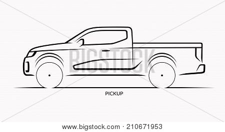 Vector car silhouette. Side view of pickup