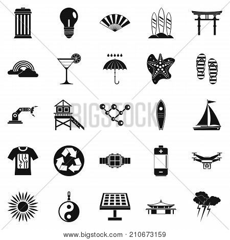 Dangerous beach icons set. Simple set of 25 dangerous beach vector icons for web isolated on white background