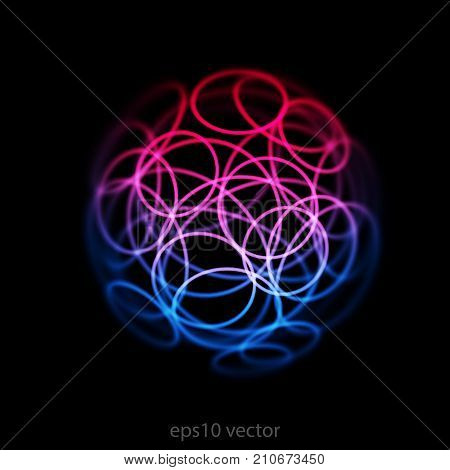 Abstract digital technology and information background. Futuristic bright circles on a dark space background. Goof for science, innovation and big data concepts. EPS 10 vector illustration.