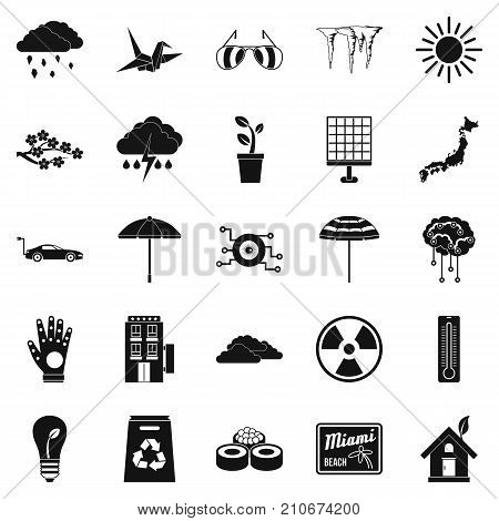 Very bad weather icons set. Simple set of 25 very bad weather vector icons for web isolated on white background