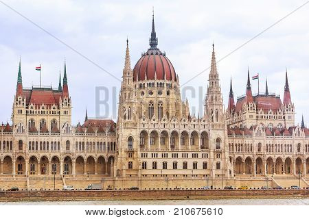 Front View of Hungarian Parliament building from Danube river, Budapest, Hungary