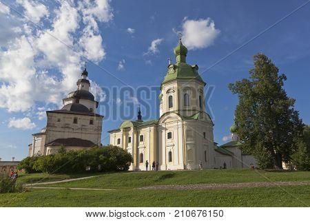 Kirillov, Vologda region, Russia - August 9, 2015: Churches Archangel Gabriel and Kirill Belozersky of Kirillo-Belozersky Monastery