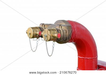 Fire hydrant manifold two outlet water valve. isolated on white background