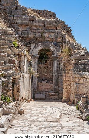 Ruins of Odeon in antique Ephesus. Selcuk in Izmir Province Turkey.