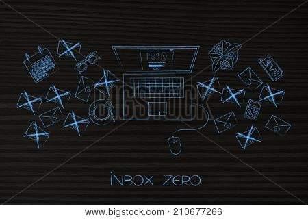 Inbox Zero Laptop With Pop-up On The Screen Surrounded By Email Envelopes Crossed Out