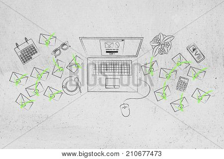 Laptop With Pop-up Message On The Screen Surrounded By Email Envelopes Ticked Off In Green