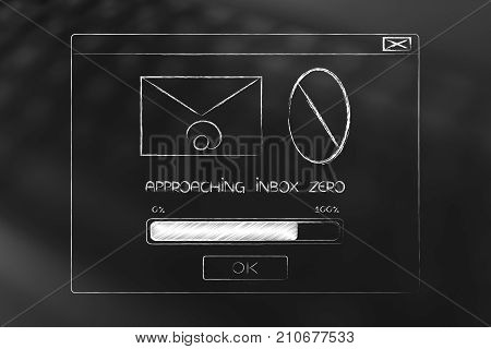 Op-up Message With Email Envelope Icon And Number Zero With Progress Bar Loading