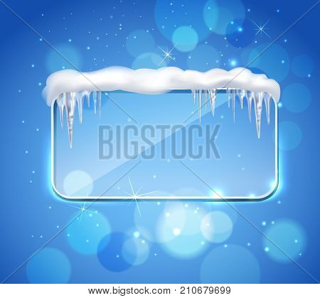 Rectangular glass pane frame with rounded corners and icicles on top realistic image blue bubbles background vector illustration
