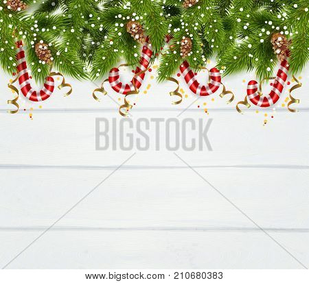 New year background with spruce twigs  serpentine and christmas peppermint candy cane realistic vector Illustration