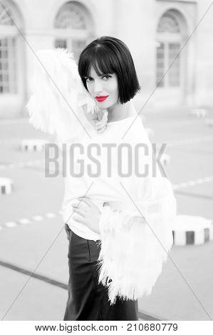 Parisian Girl In Fashionable Blouse.
