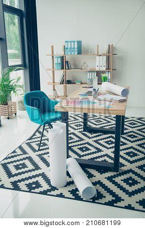 Graphic visual art design concept. Creative work place of animator architect illustrator decorator designer light modern design nice interior plant shelves with folders stylish windows