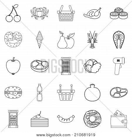 Grocery shop icons set. Outline set of 25 grocery shop vector icons for web isolated on white background