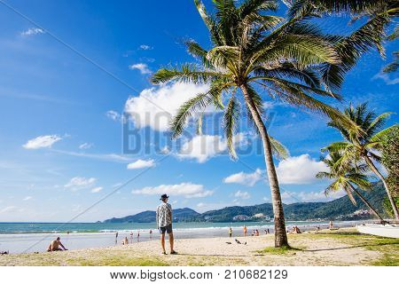 Phuket-Patong beach-October 202017:The unidentified people are relaxing on Patong beach during a sunny day in PhuketThailand.Patong is one of famous beach located in the west coast of Phuket island