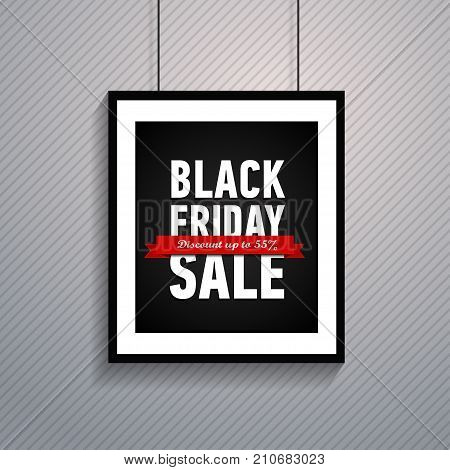 Black friday sale poster in frame hanging on ropes. Trendy shopping banner on striped background. Inscription on a red ribbon - Discount up to 55. Online shopping