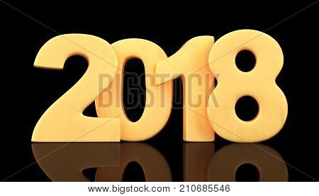 Golden 2018 new year figures on black background. 3d rendering