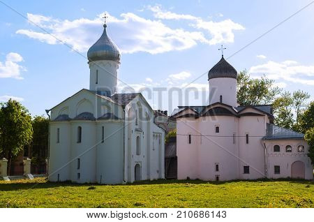 Veliky Novgorod Russia. Churches of St Procopius and Wives the Myrrh bearers at the Yaroslav's Courtyard. Architecture summer landscape of Veliky Novgorod landmark