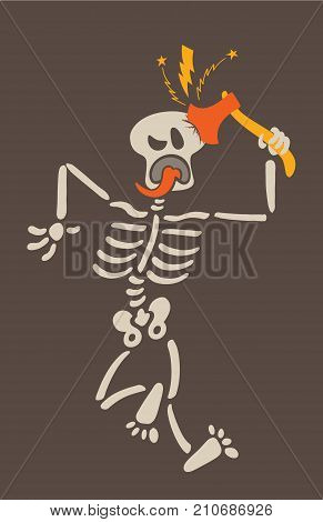 Weird skeleton giving a violent blow to its own skull with a sharp axe. The skeleton is showing signals of pain such as clenching an eye, sticking its tongue out and contorting its body