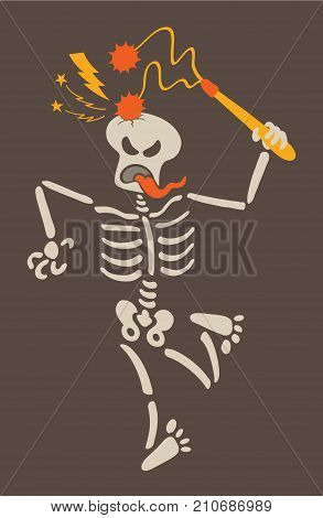Weird skeleton giving a violent blow to its own skull with a double ball and chain flail. The skeleton is clenching its eyes, sticking its tongue out and contorting its body