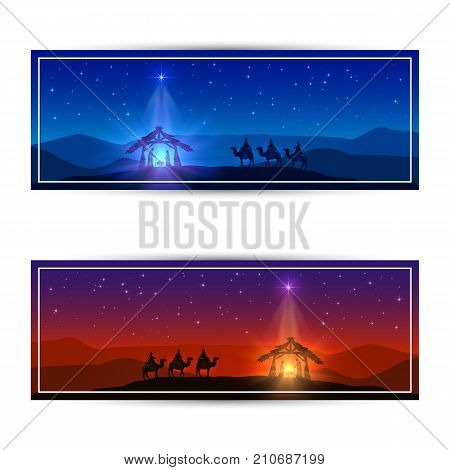 Christmas cards with Christmas star birth of Jesus and three wise men illustration.