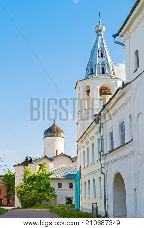 Veliky Novgorod Russia. Church of the Wives the Myrrh-bearers and gate tower at the Yaroslav courtyard Veliky Novgorod Russia