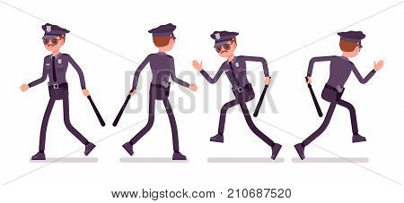 Young policeman walking and running. Patrolling neighborhoods, keep citizens safe, performing regular foot patrol on assign area. Vector flat style cartoon illustration isolated on white background