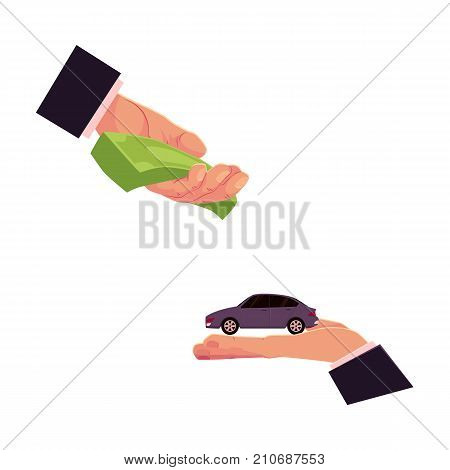 Two hands, giving money and holding a car, automobile selling, leasing, buying concept, cartoon vector illustration on white background. Car purchase, rental, insurance concept with giving hands