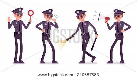 Young policeman with light and signals. Directing traffic, police training academy students performing regular investigations. Vector flat style cartoon illustration isolated on white background