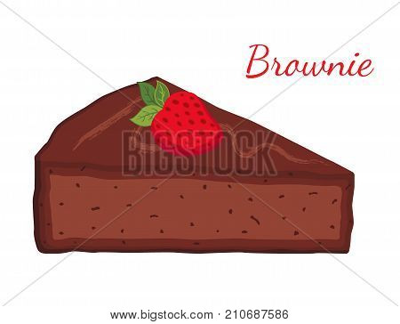 Brownie, chocolate pie, cupcake, pastry. Made in cartoon flat style. Vector illustration