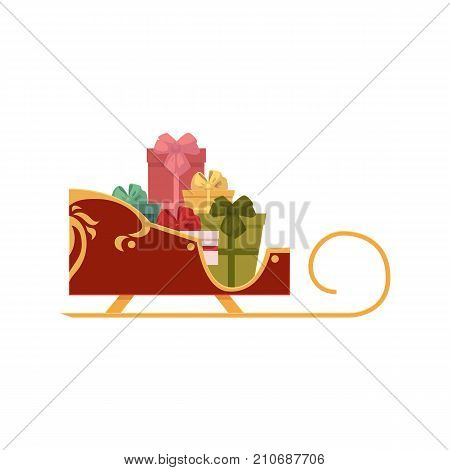 Santa sleigh full of gifts, present boxes, Christmas icon, cartoon vector illustration isolated on white background. Cartoon Santa sleigh with present boxes, Christmas icon, decoration element
