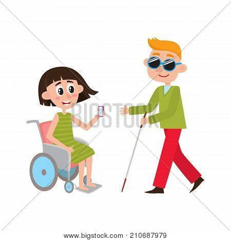 Woman sitting in wheelchair and blind man with walking cane, cartoon vector illustration isolated on white background. Cartoon, comic style people with disabilities - woman in wheelchair, blind man