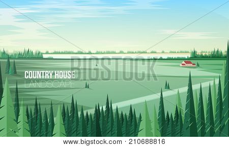 Gorgeous rural landscape with green coniferous forest trees on foreground and farm building or country house standing in middle of large field and clear sky on background. Colored vector illustration
