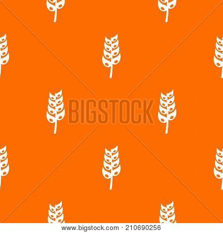 Ripe spica pattern repeat seamless in orange color for any design. Vector geometric illustration