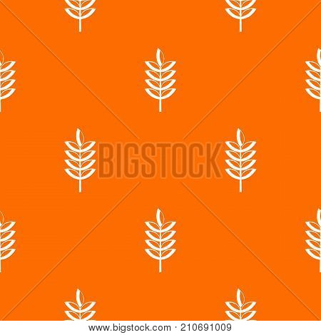 Rye spica pattern repeat seamless in orange color for any design. Vector geometric illustration