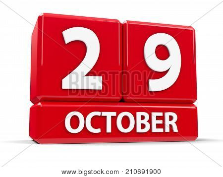 Red cubes - The Twenty Ninth of October - on a white table - World Stroke Day World Psoriasis Day and Republic Day in Turkey three-dimensional rendering 3D illustration