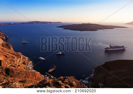 Santorini Sea With Nea Kameni Volcanic And Cruise Ships
