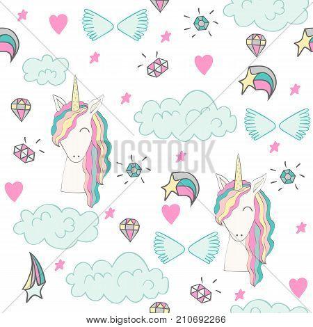Magic cute unicorn with magic elements. Vector seamless pattern