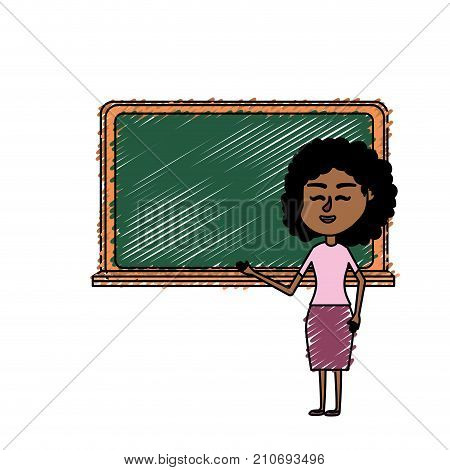 woman teacher teaching to the student in the blackboard vector illustration