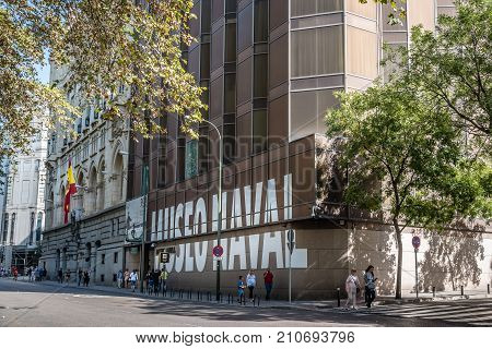 Madrid, Spain - October 14, 2017: Outdoor view of Naval Museum of Madrid. It forms part of the Spanish Armada Headquarters in Madrid and is one of the most important naval museums in the world.