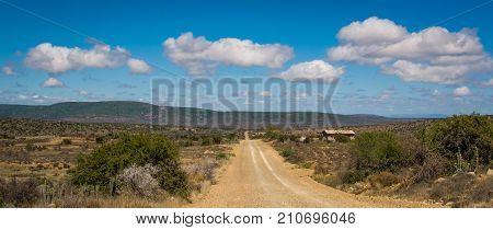 A dry dusty road leads straight to the horizon under white clouds in the Karoo, South Africa