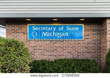 Sandusky, Michigan, USA - September 30, 2017: Exterior of a Michigan Secretary of State branch in Michigan. The Secretary of State is responsible for vehicle driver license, titles and vehicle plates.