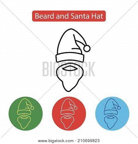 Hat with pompon of Santa Claus and mustache with a beard isolated. Santa accessory icon. New year Chrismas object isolated. Winter holidays vector illustration, line style. Editable stroke.