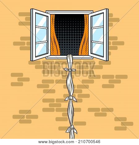 Escape from window pop art retro vector illustration. Escape using rope from sheets. Comic book style imitation.