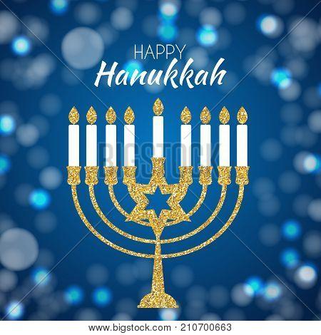Happy Hanukkah, Jewish Holiday Background. Vector Illustration. Hanukkah is the name of the Jewish holiday. EPS10