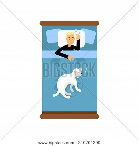 Teen boy sleeping in the bed with his dog, view from above cartoon vector illustration isolated on a white background