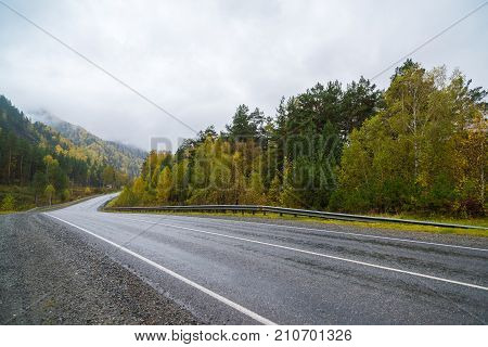 Federal highway M-52 Chuysky tract, asphalt road with markings among the autumn trees. Russia, the Altai Republic.