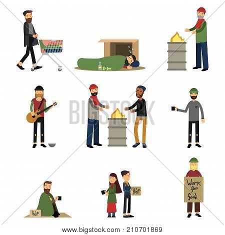 Homeless people, kids and vagabonds begging money, needing help set of cartoon vector illustrations isolated on a white background